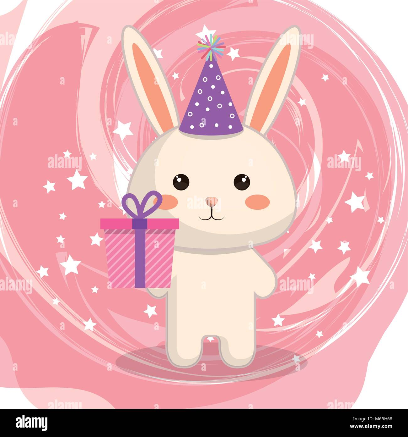 Cute Rabbit With Gift Kawaii Birthday Card