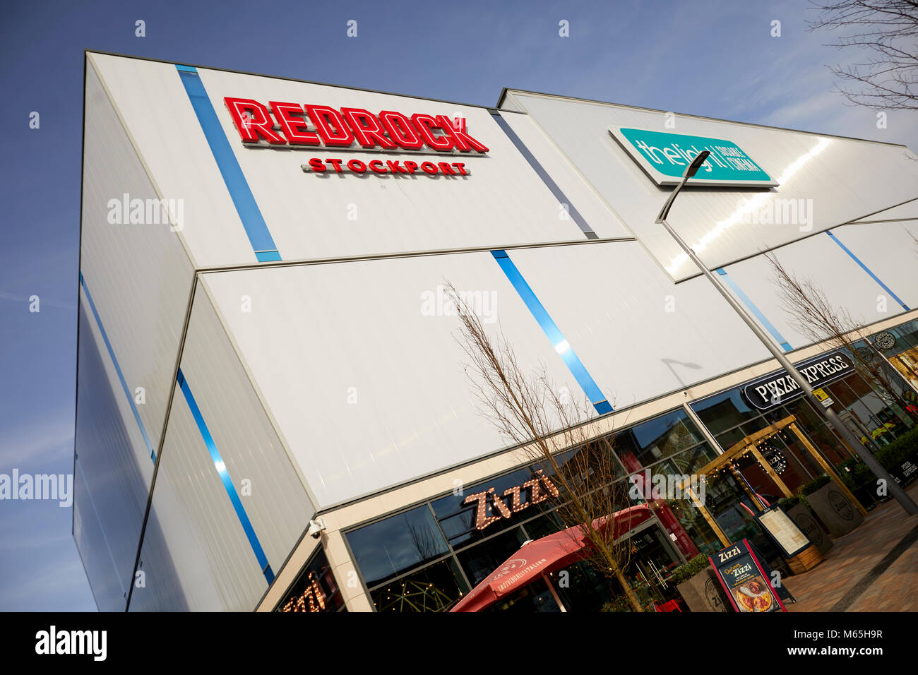 Redrock building featuring restaurants and a cinema it is part of a redevelopment that in Stockport - Stock Image