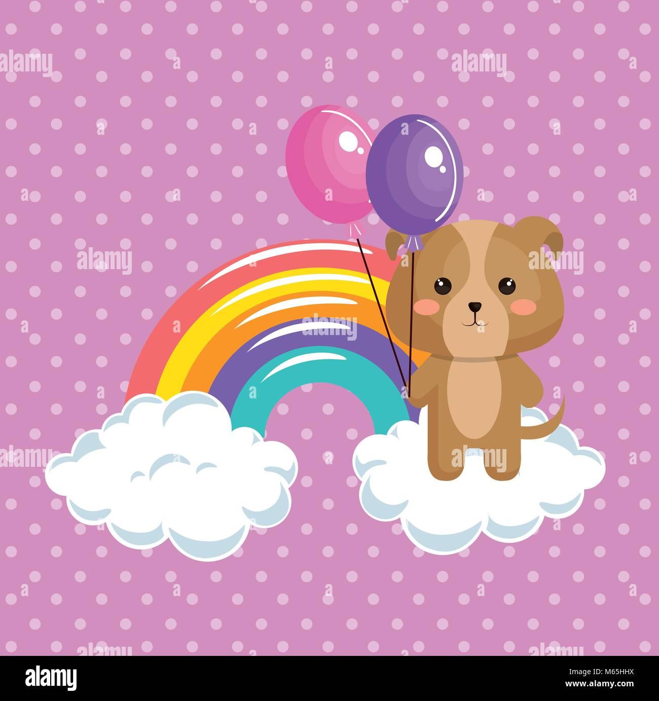 cute dog with rainbow kawaii birthday card - Stock Image