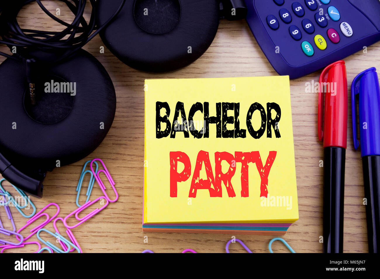 Word, writing Bachelor Party. Business concept for Stag Fun Celebrate written on sticky note paper on wooden background. - Stock Image