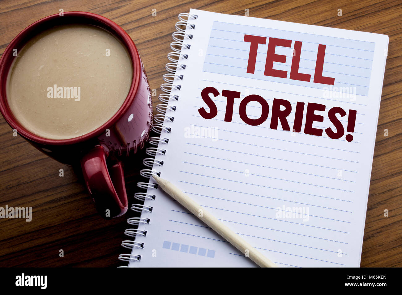 Hand writing text caption inspiration showing Tell Stories. Business concept for Storytelling Telling Story written - Stock Image