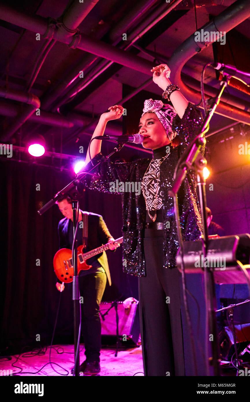 Yuna, Yunalis binti Mat Zara'ai, malaysian musician singer songwriter artist performing at U Street Music Hall. Stock Photo