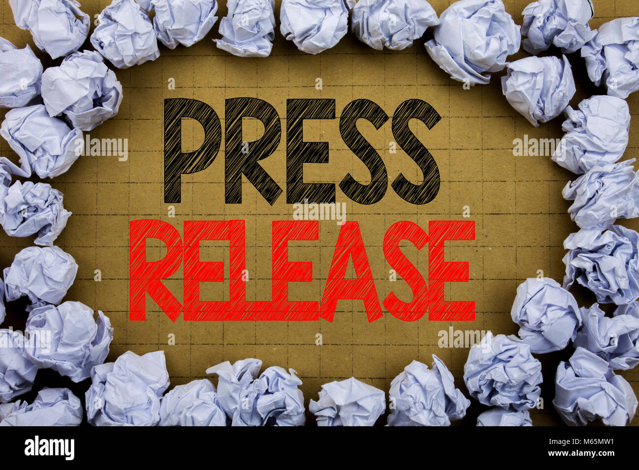 Press Release. Business concept for Statement Announcement Message written on vintage background with space on old Stock Photo