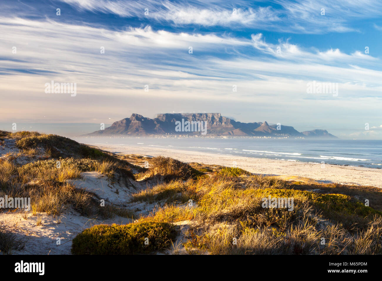 scenic view of table mountain in cape town south africa from blouberg - Stock Image
