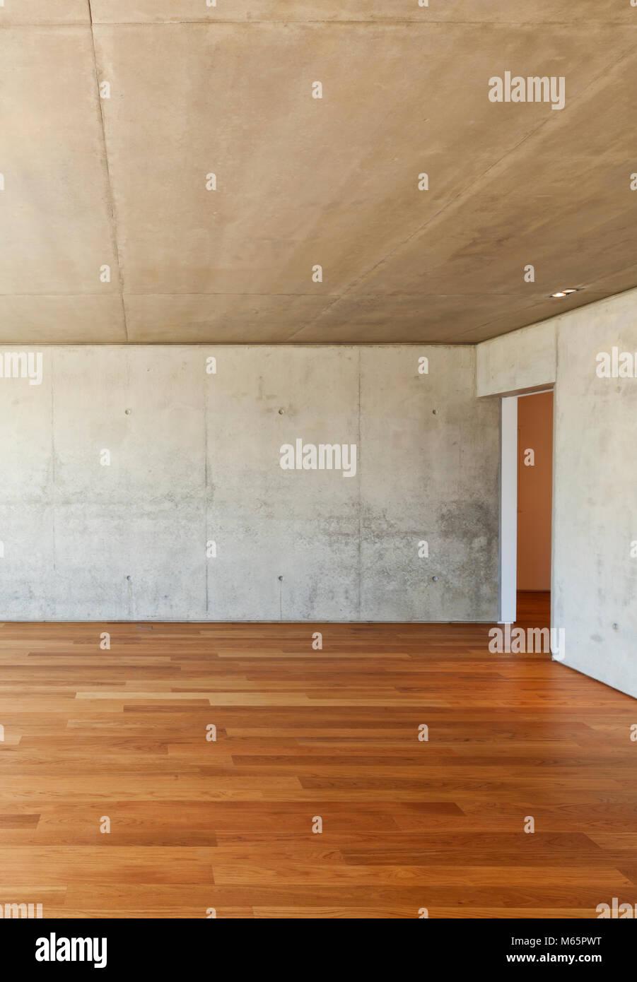 Modern House With Hardwood Floor Concrete Walls Stock Photo
