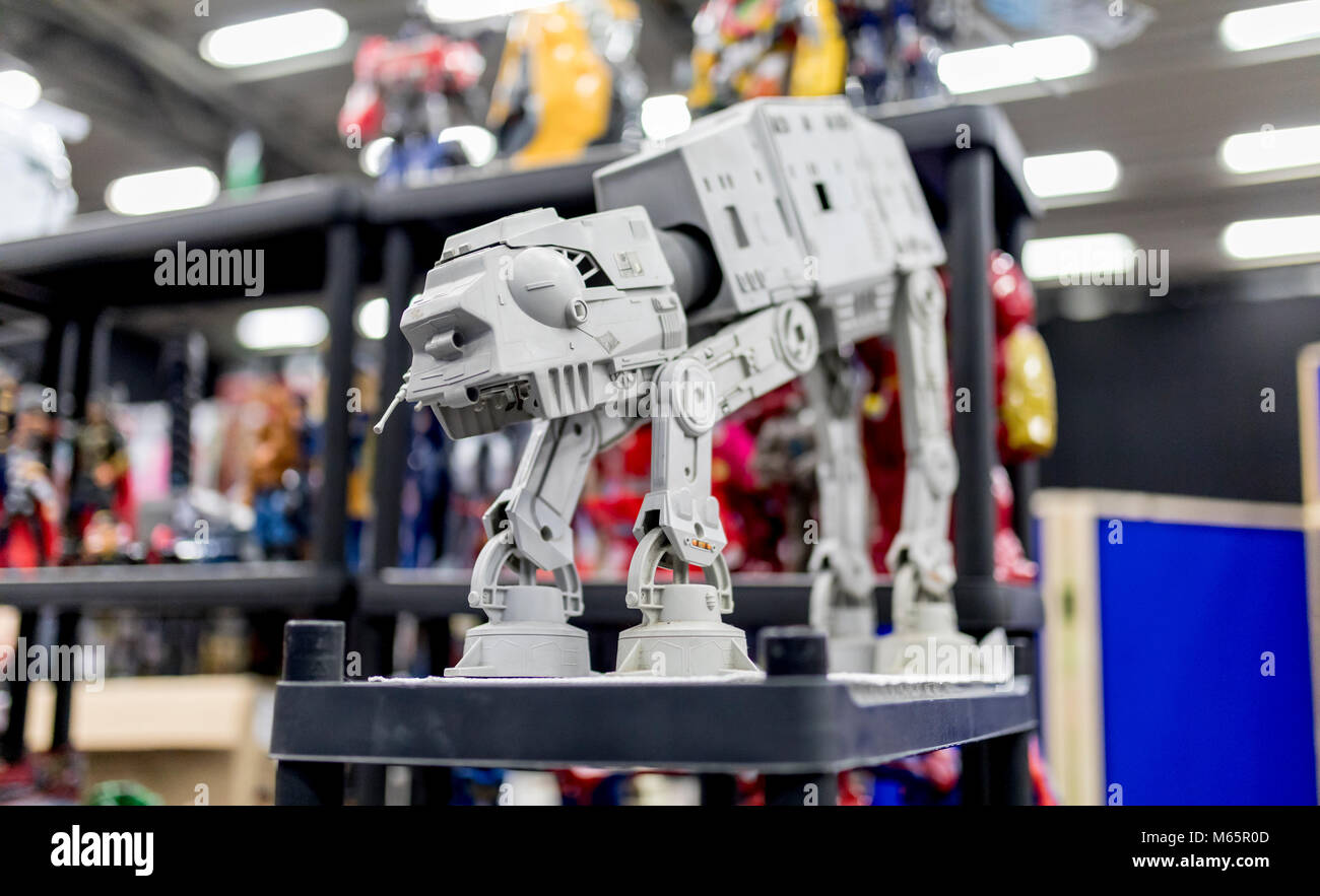 Doncaster Comic Con 11th Feruary 2018 at The Doncaster Dome UK. Star Wars All Terrain Armored Transport or AT-AT - Stock Image