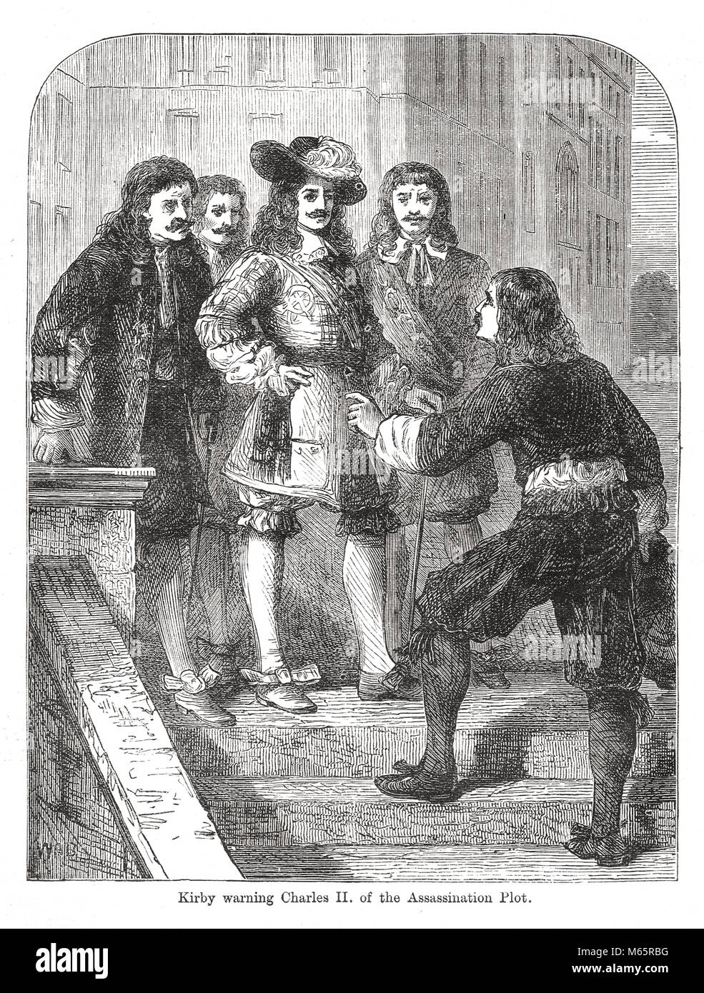 Christopher Kirkby (or Kirby), warning Charles II of the assassination plot, the Popish plot, 1678 - Stock Image