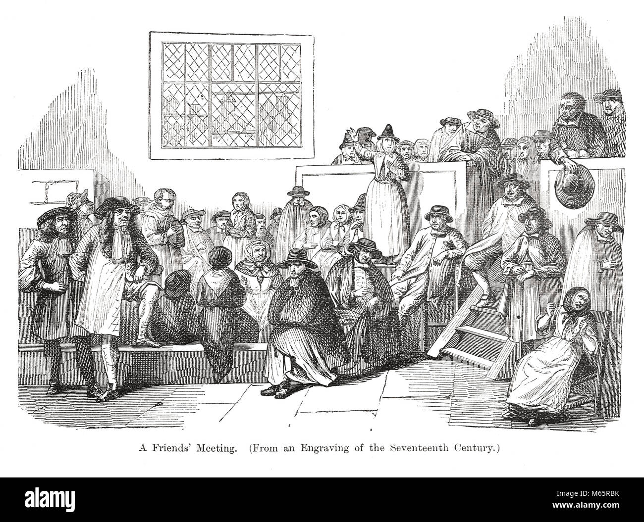 A Friends meeting house in the 17th Century - Stock Image