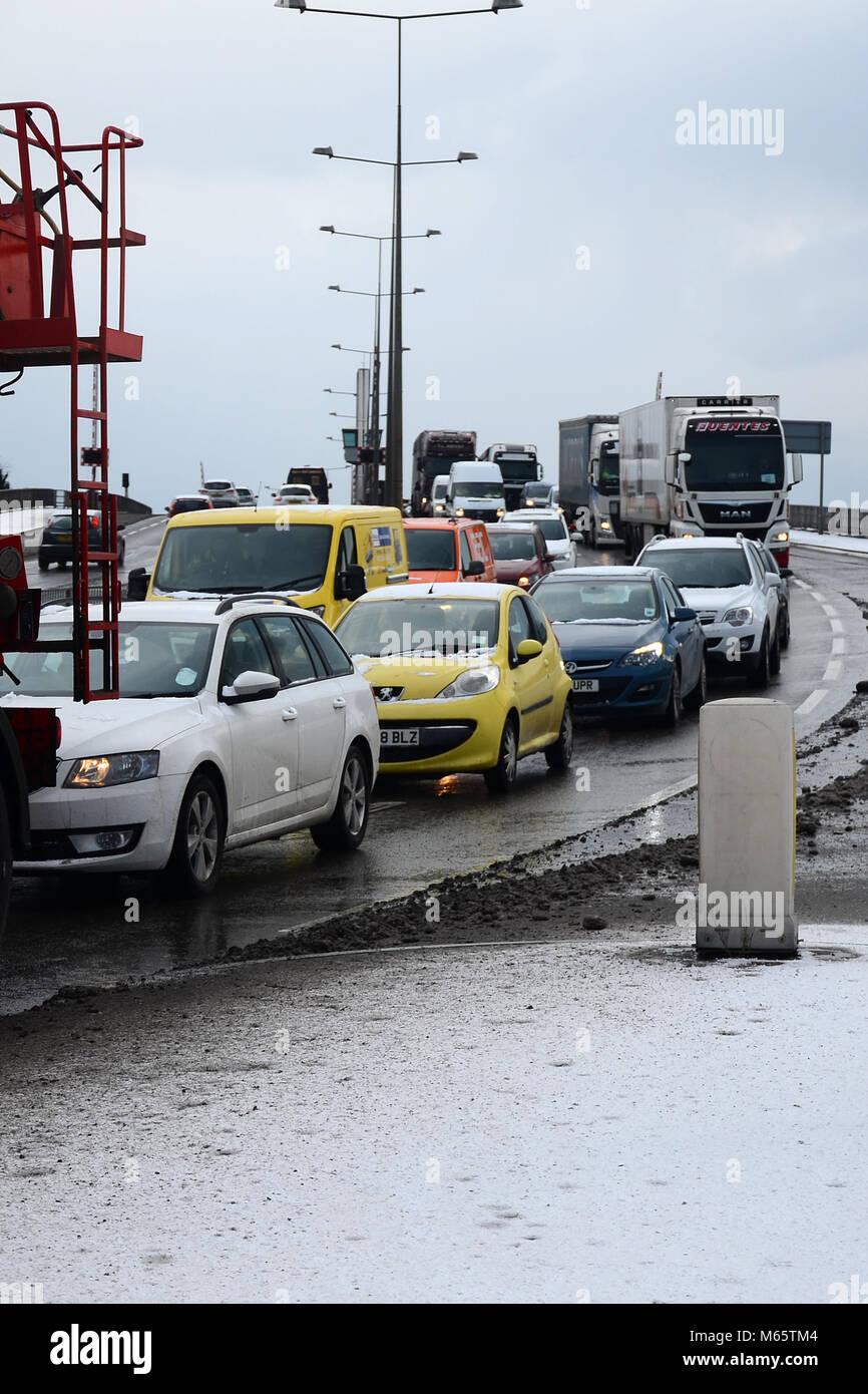 road congestion, traffic delays,  castle street, Myton bridge, kingston upon Hull - Stock Image