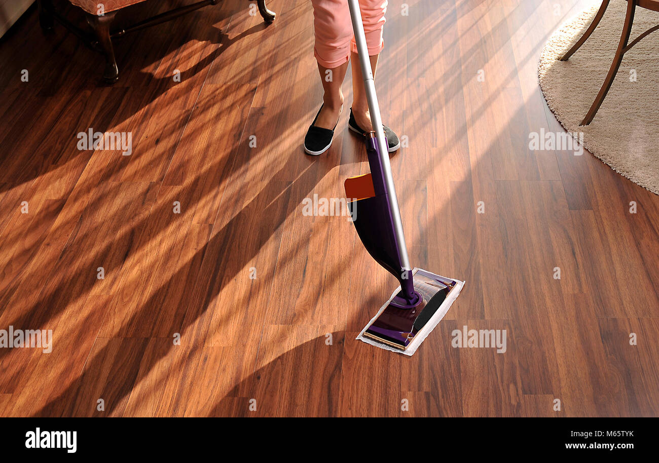 Modern mop for cleaning wooden floor from dust, cleaning service - Stock Image