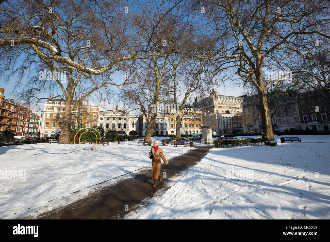Snow covered Cavendish Square Gardens, as artic weather hits London. BRITAIN is being buffeted by icy Siberian winds - Stock Image