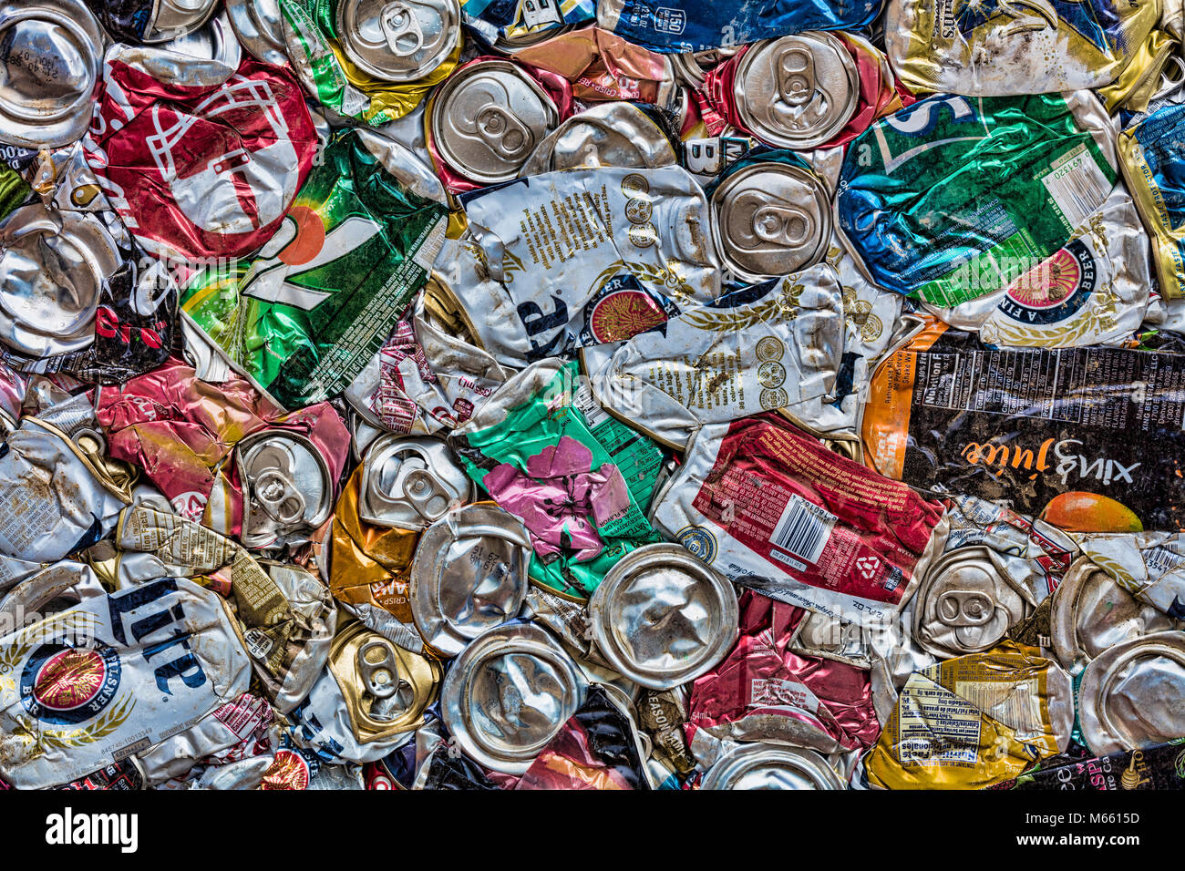 Scrap aluminum cans prepared for Recycle, Alaska, Chena Hot Springs. Photographed at 50.6 megapixels - Stock Image