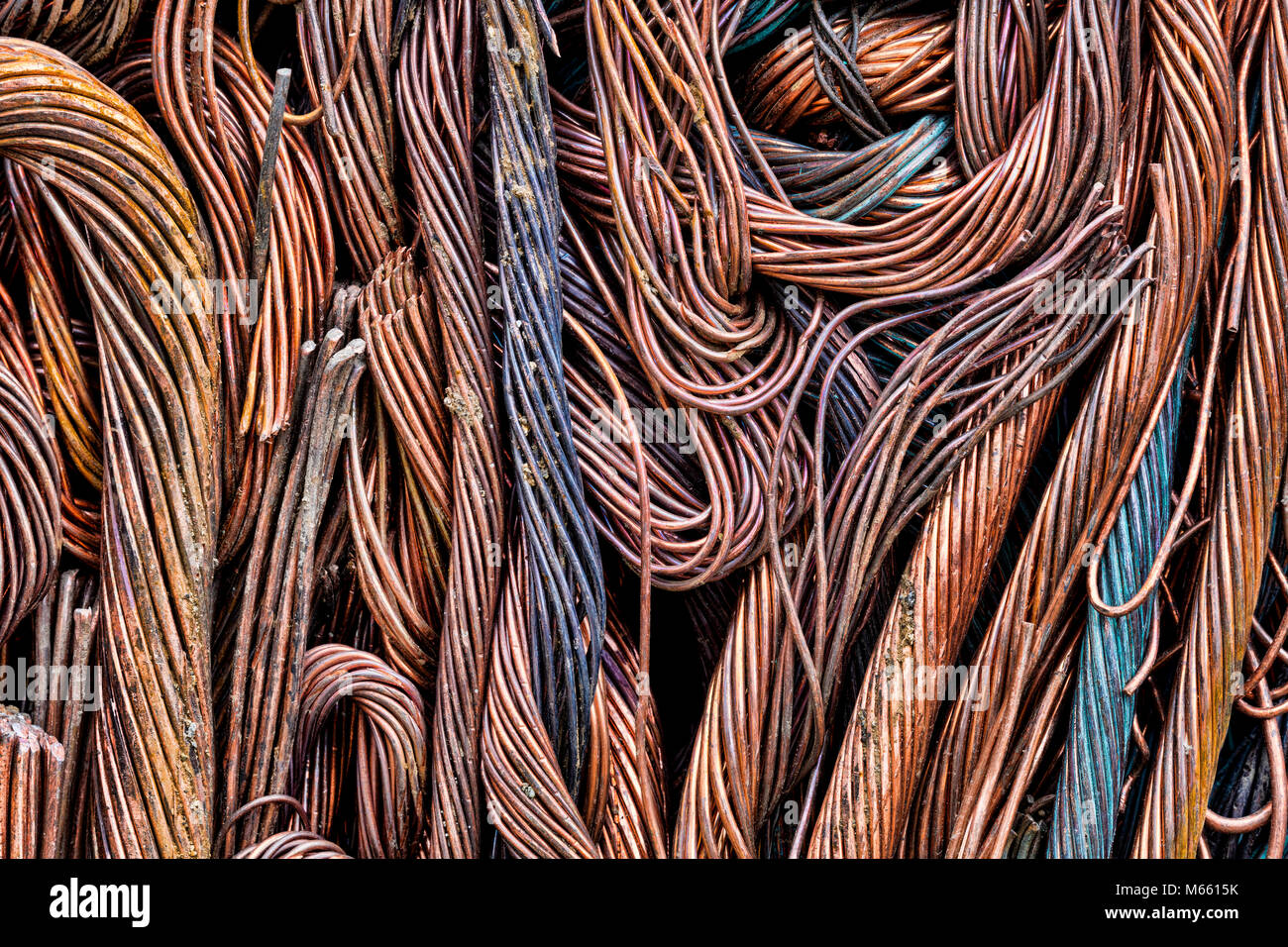 Scrap copper prepared for Recycle, Alaska, Chena Hot Springs. Photographed at 50.6 megapixels - Stock Image