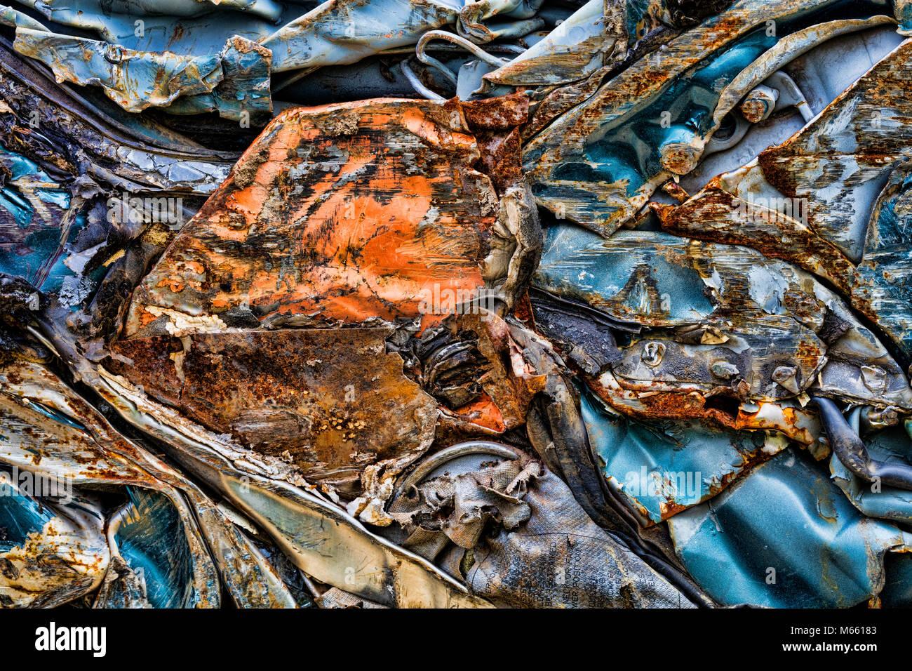 Scrap metal prepared for Recycle, Alaska, Chena Hot Springs. Photographed at 50.6 megapixels - Stock Image