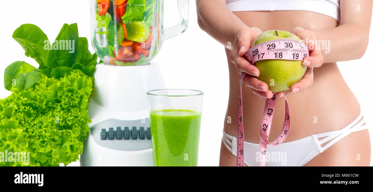 Successful weight loss, slim woman with weight scale. Diet concept, fresh vegetables and fruits Stock Photo