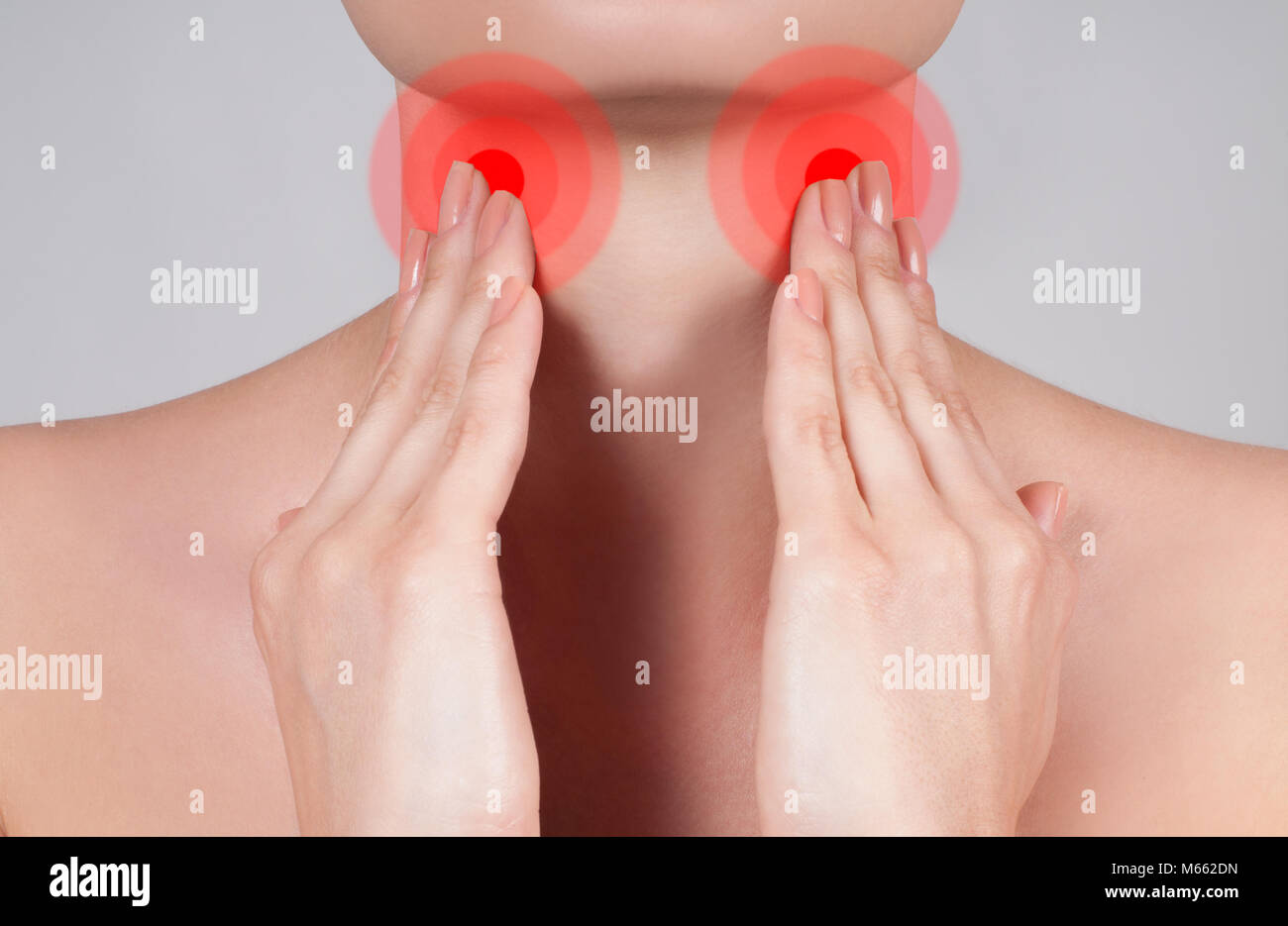 Pain throat concept  Young woman has sore throat touching