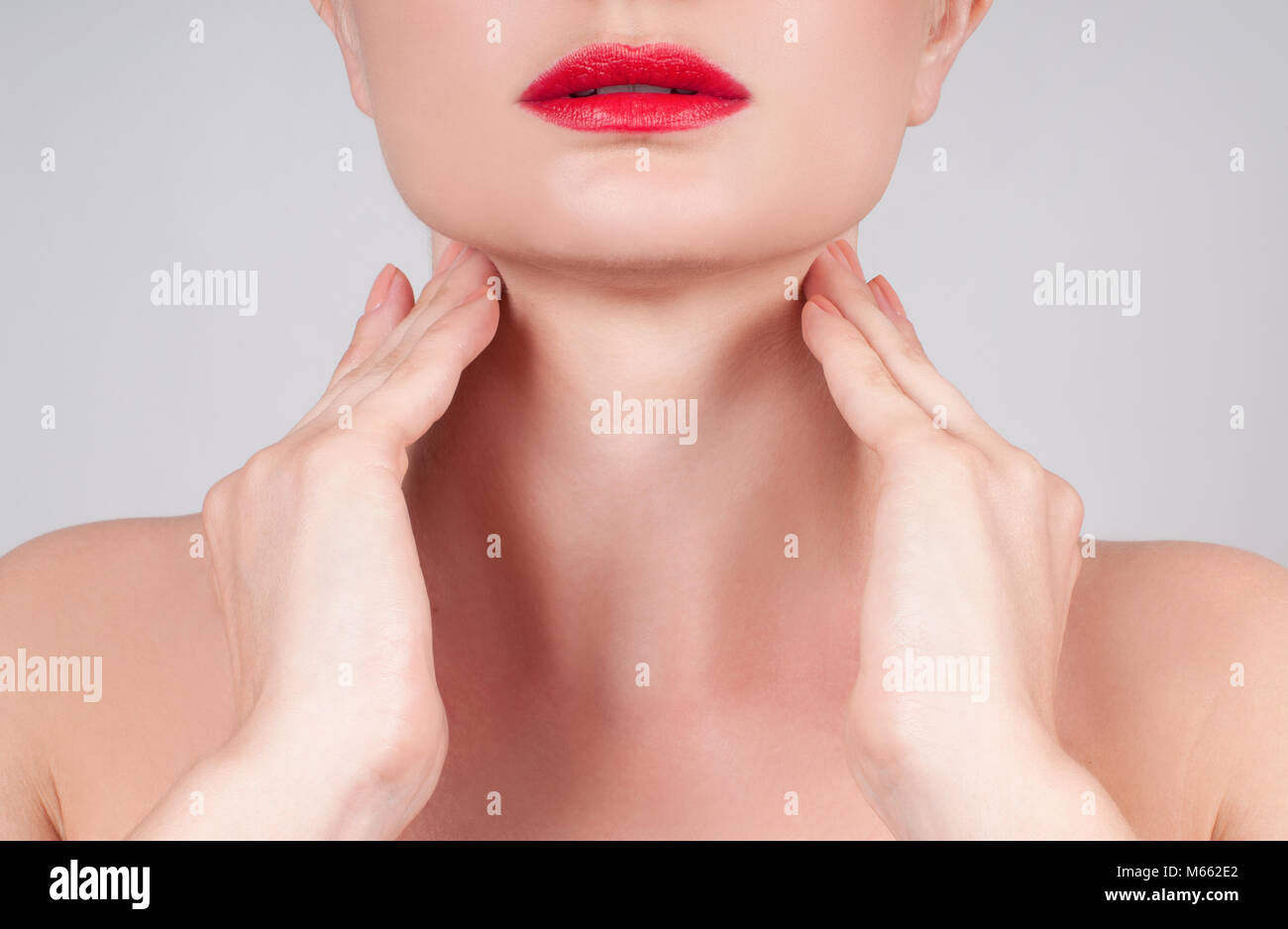 Beautiful woman neck. Anti-aging treatment and face lift Stock Photo
