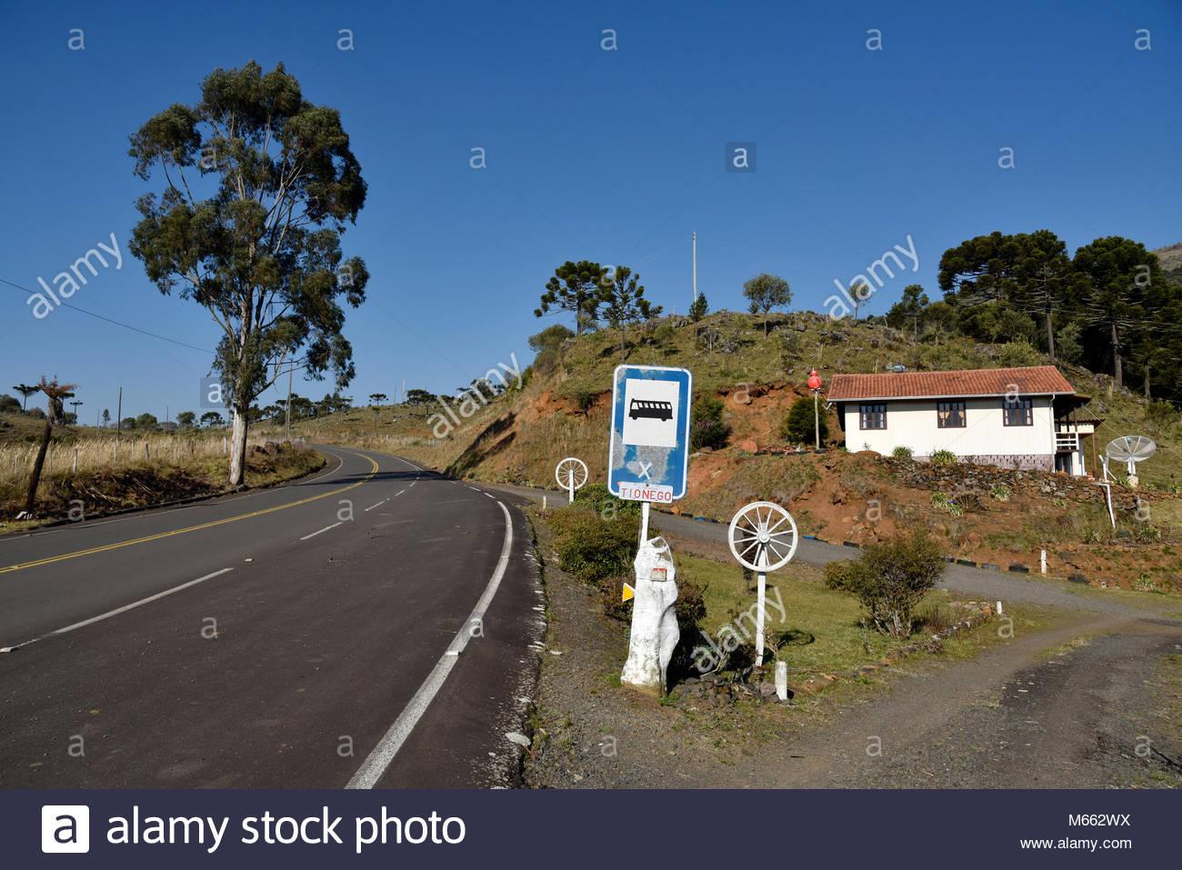 House, margins of Highway SC-110, 2017, Urubici, Santa Catarina, Brazil. Stock Photo