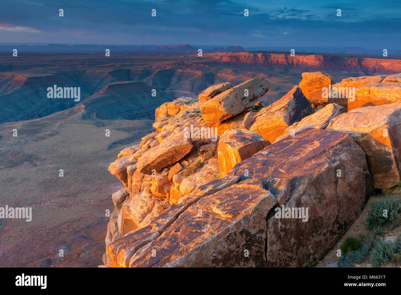 Sunrise, Muley Point, Monument Valley, Glen Canyon National Recreation Area, Utah - Stock Image