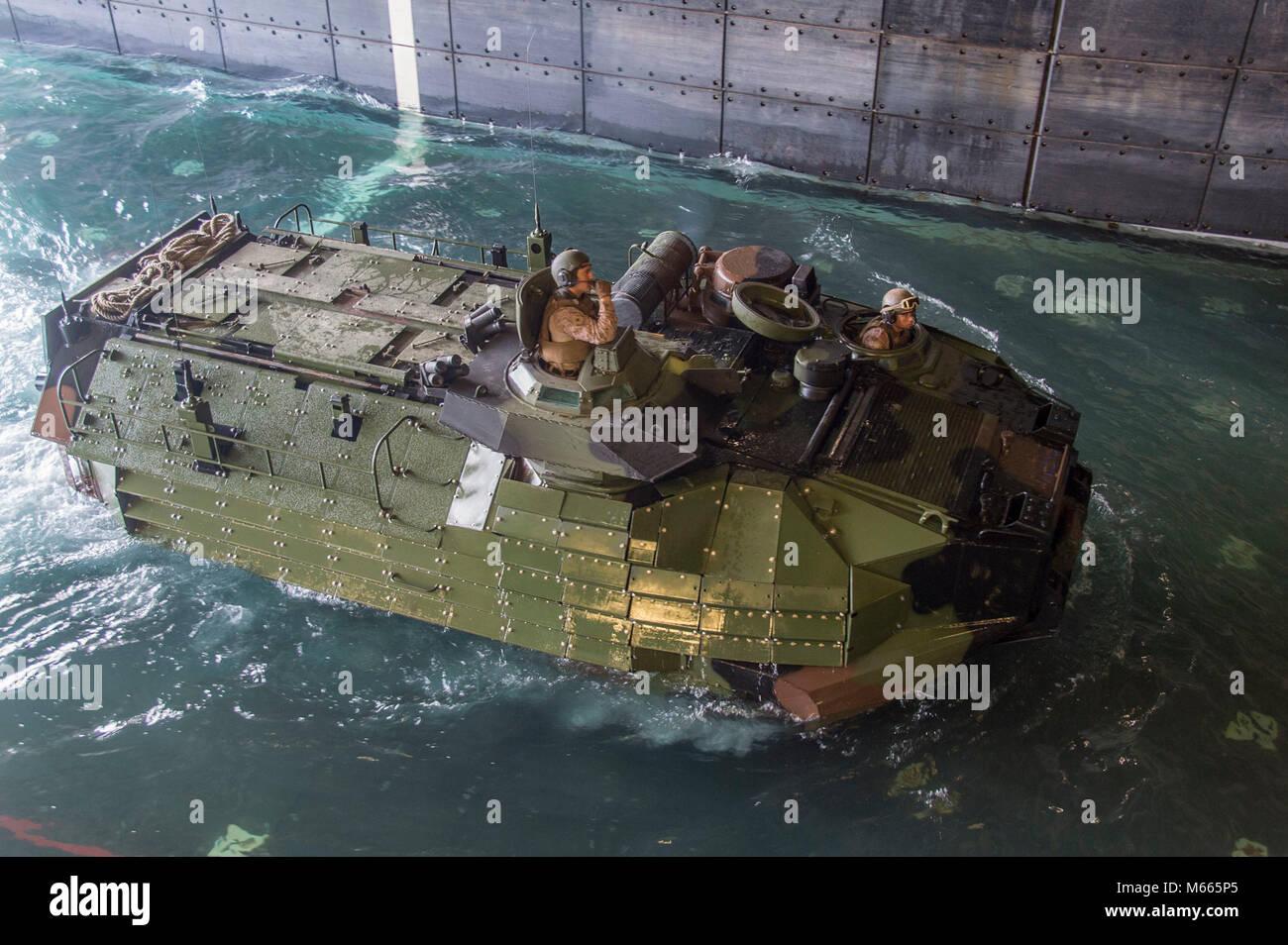 180227-N-DC385-200 GULF OF THAILAND (Feb. 27, 2018) An amphibious assault vehicle (AAV), assigned to the 3rd Assault Stock Photo