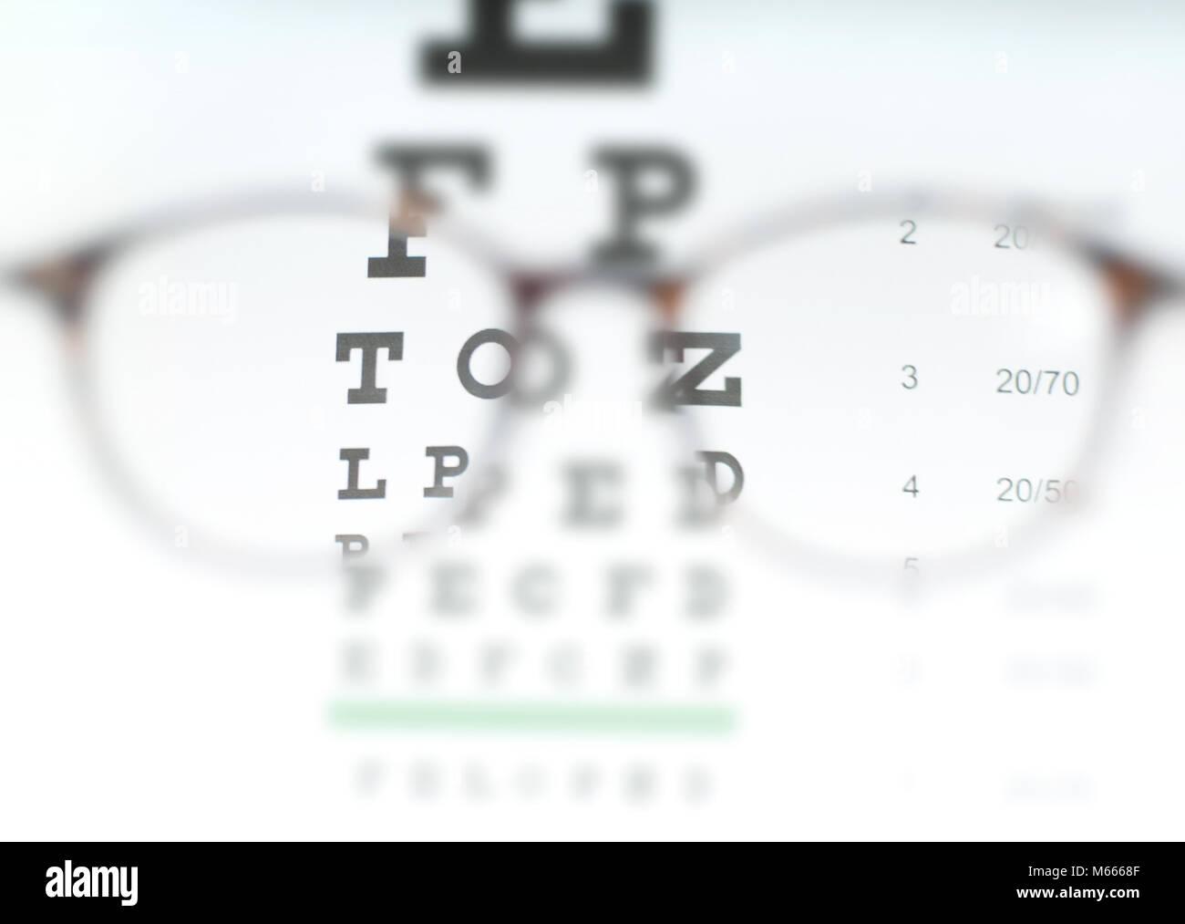 2f22419a31d Eye vision test chart seen through eye glasses. Prescription glasses sitting  on an eye test chart