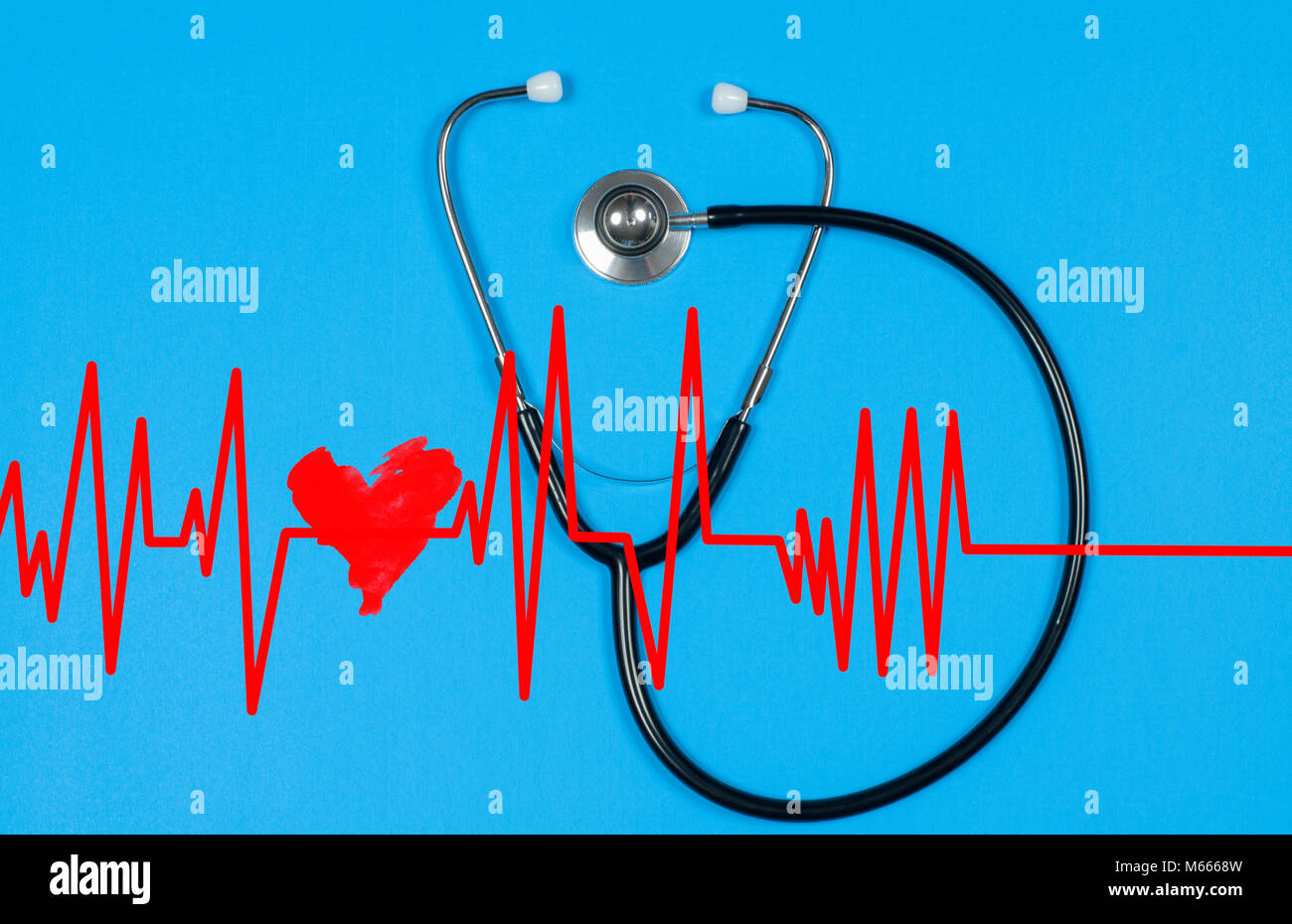 Medical stethoscope and red heart with cardiogram on blue background. Health Concepts - Stock Image