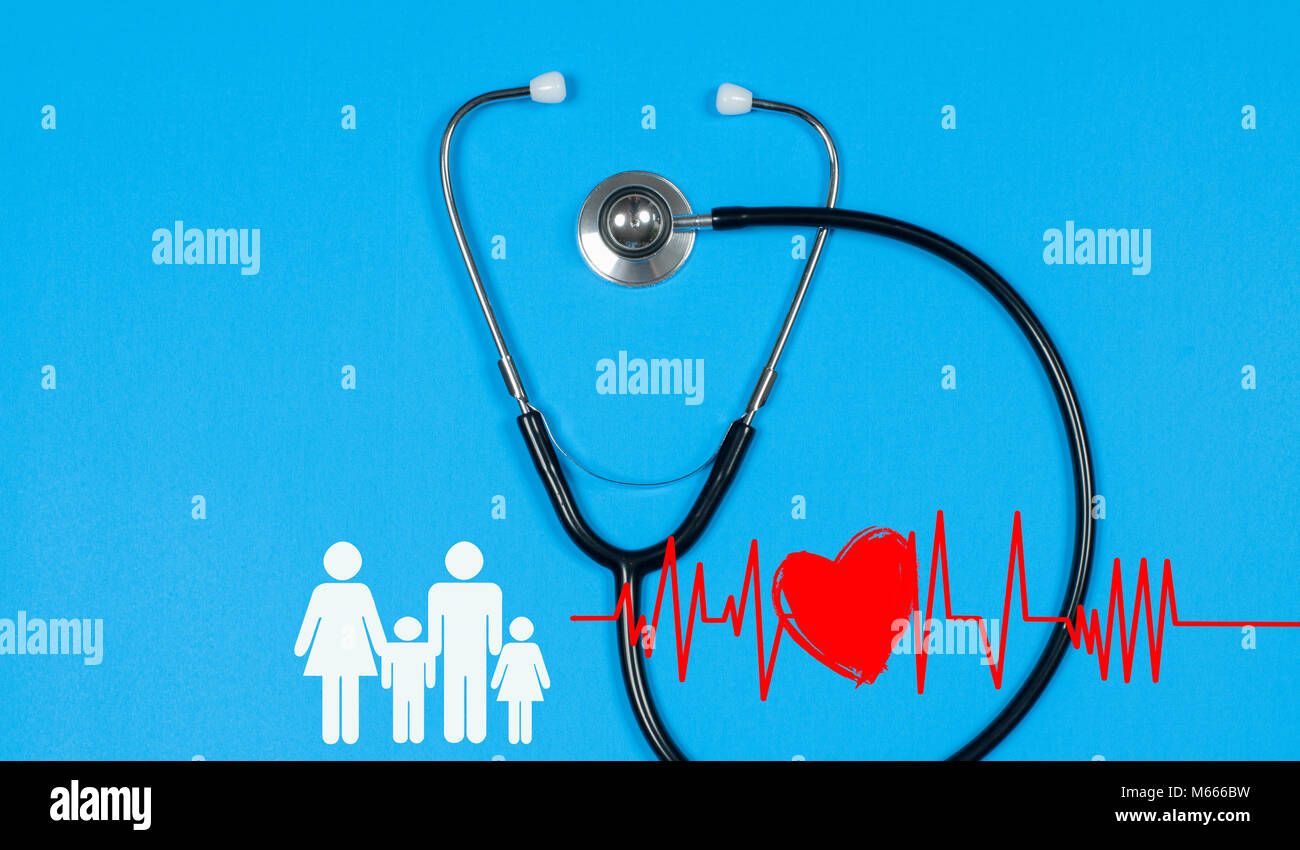Medical stethoscope and red heart with cardiogram on blue background. Health Insurance Concepts - Stock Image