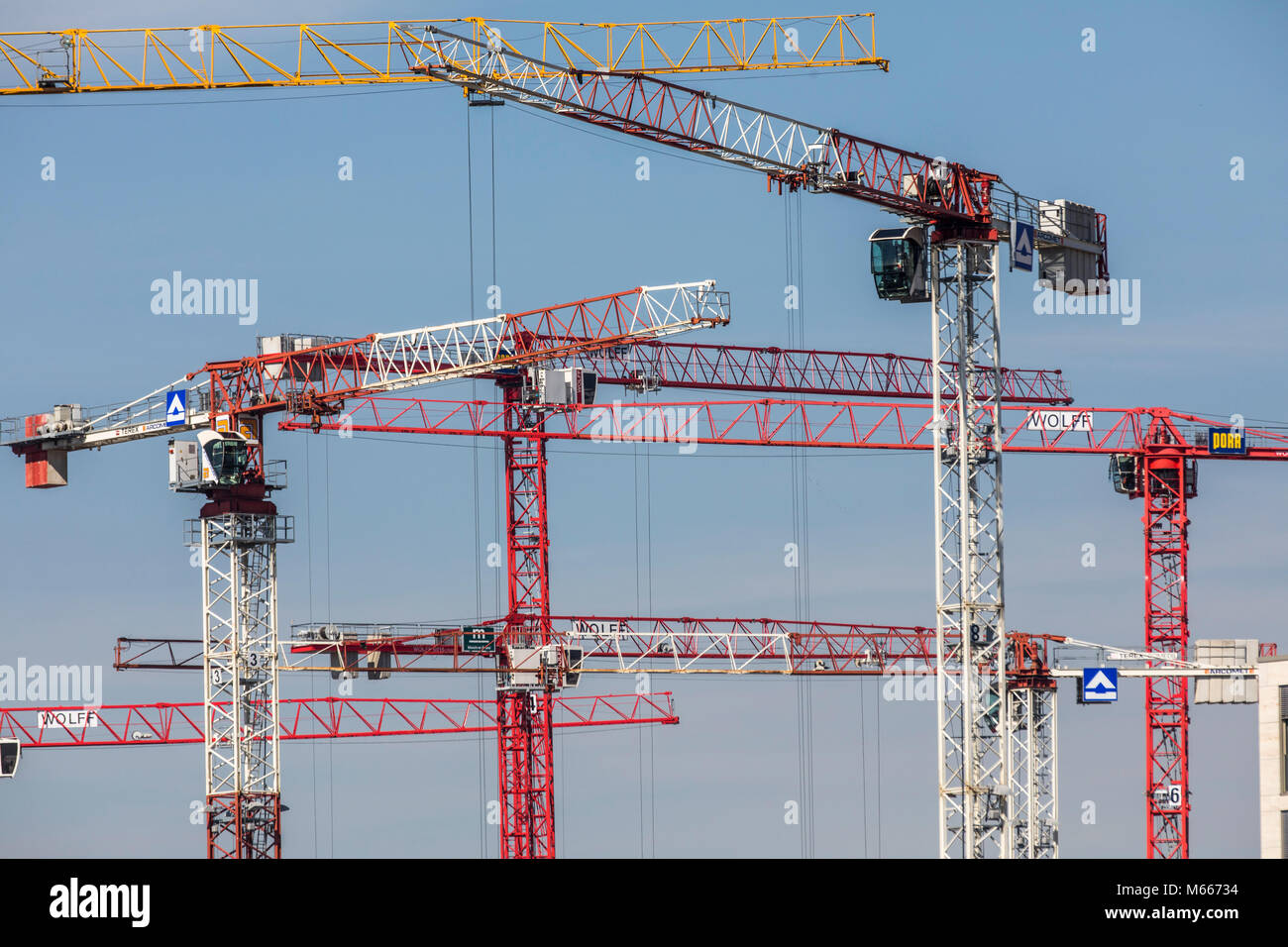 Construction site, construction crane, construction work, - Stock Image