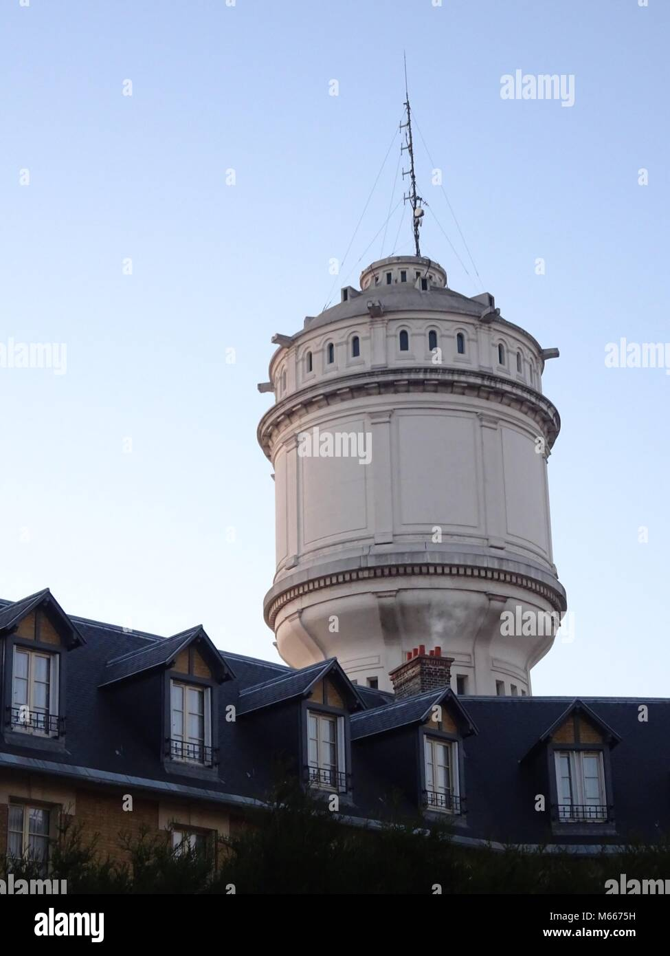Majestic Ancient Water tower at  butte Montmartre. Paris, France - Stock Image
