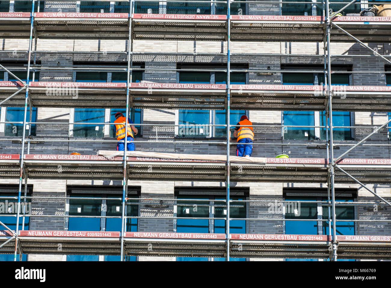 Construction site, scaffolding, construction work, Stock Photo