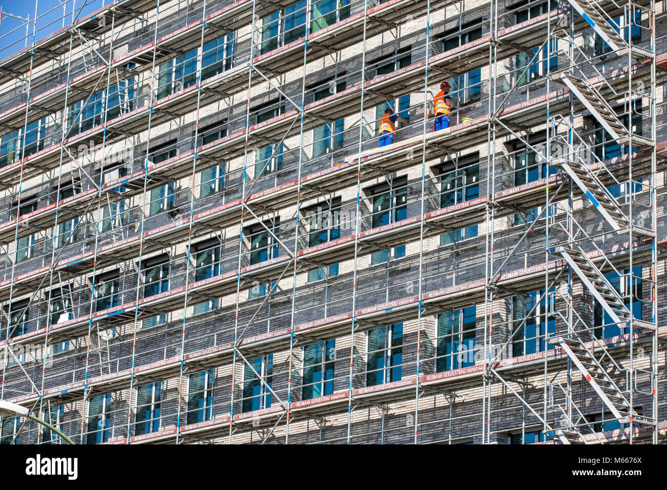 Construction site, scaffolding, construction work, - Stock Image