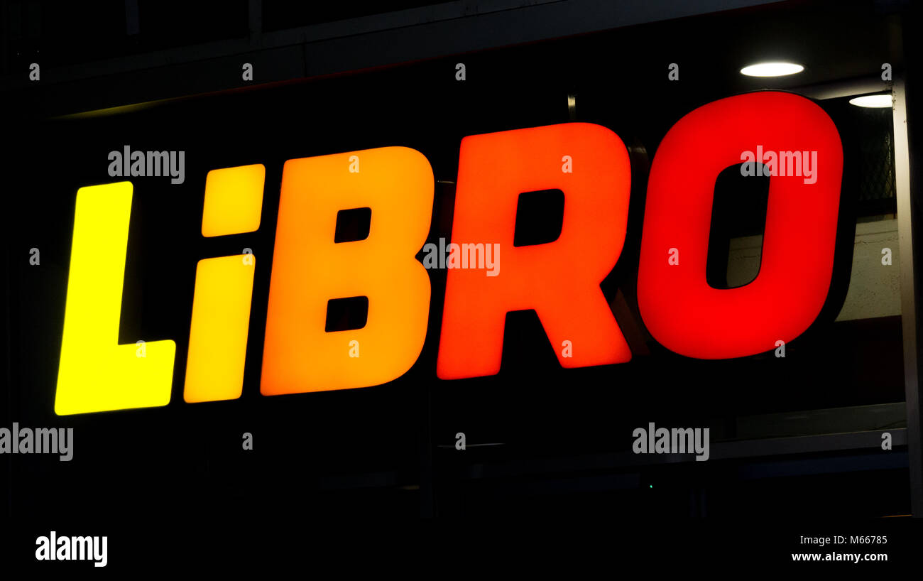 Graz, Austria - 08.02.2018: The libro logo above its shop Stock Photo
