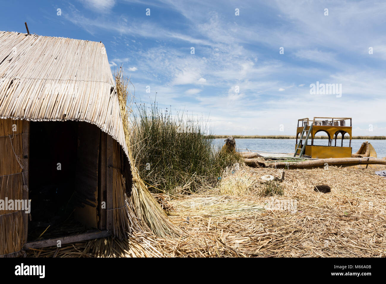traditional tent on the Titicaca lake near Puno, Peru - Stock Image