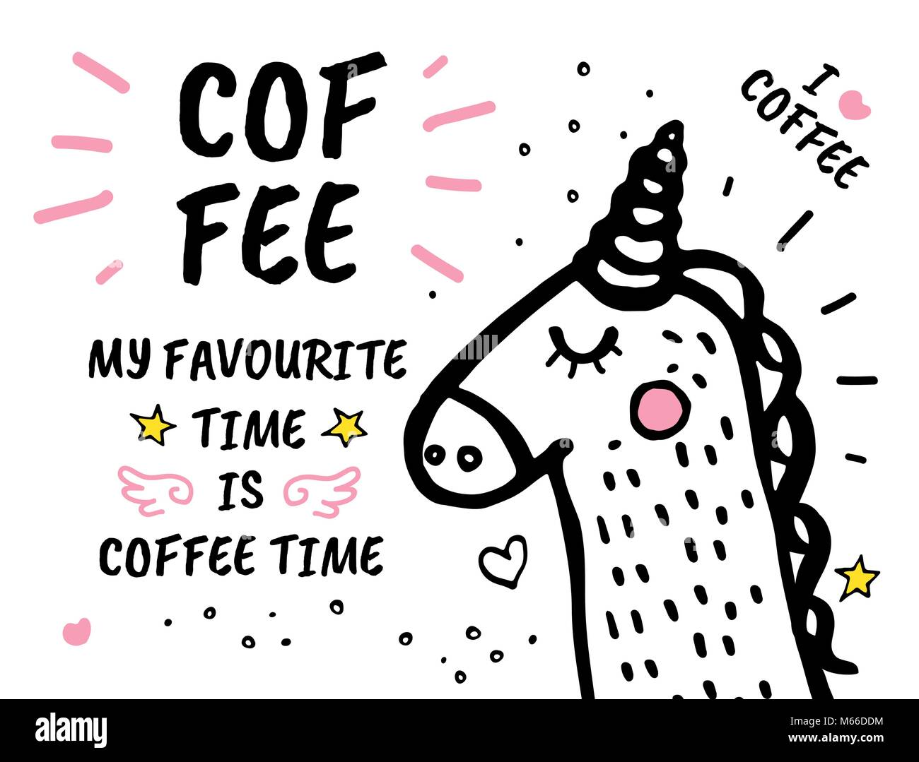 Coffee Time Is My Favourite hand drawn doodles Stock Vector