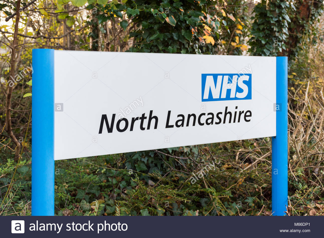 Sign for the NHS , North Lancashire, outside office buildings in the city of Lancaster - Stock Image