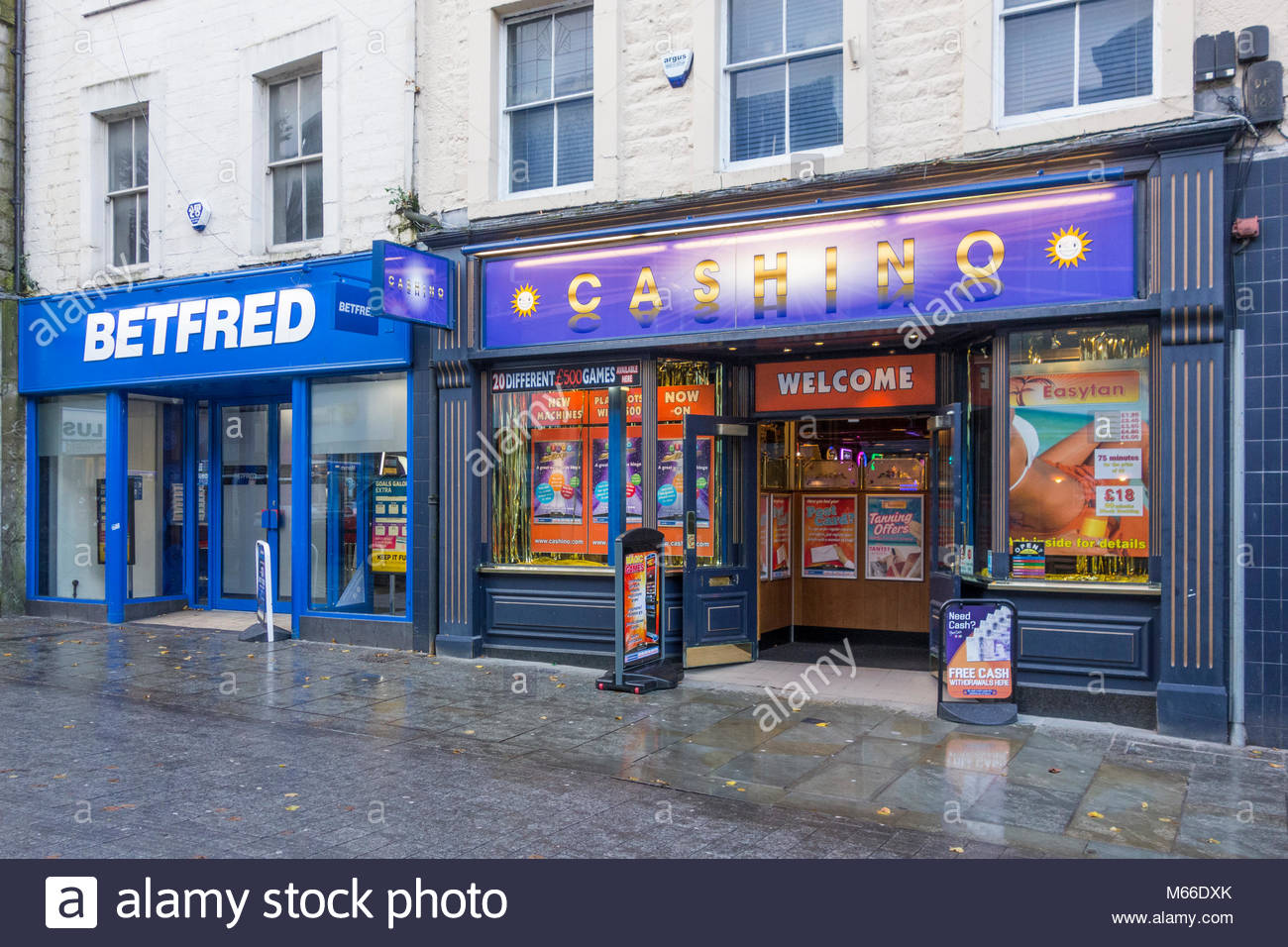 Betfred betting shop and Cashino amusement arcade next to each other in Cheapside, Lancaster, UK - Stock Image