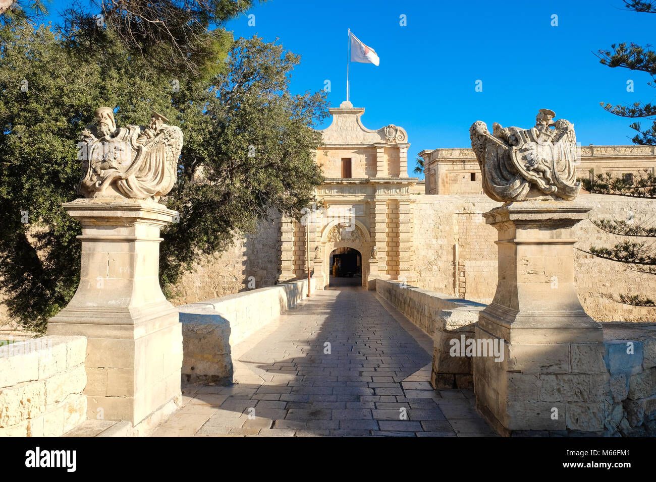Mdina city gate. Old fortress. Malta - Stock Image