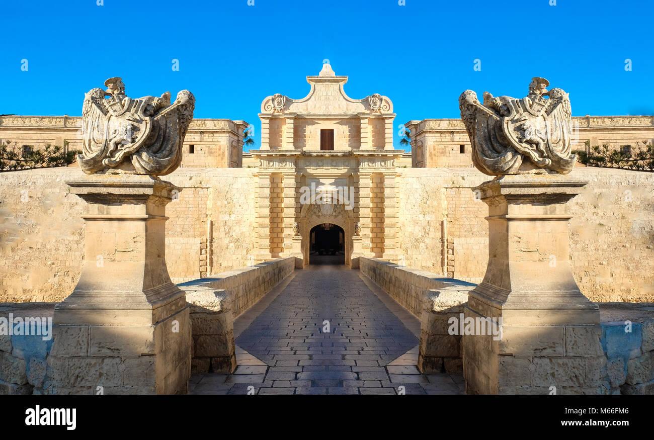 Mdina city gates. Old fortress. Malta - Stock Image