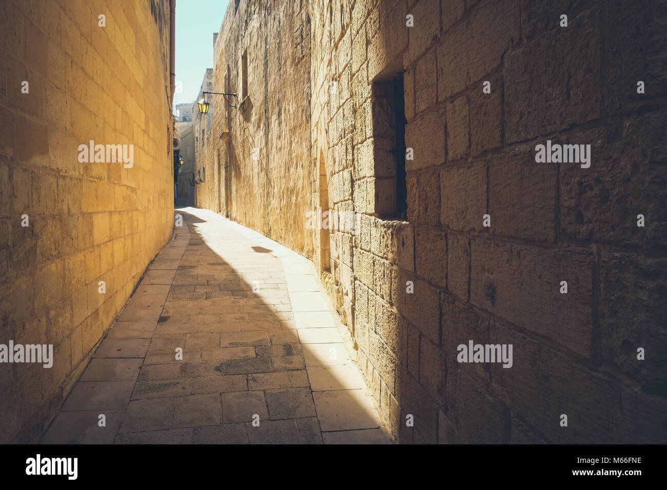Narrow streets of the old Mdina. Typical architecture in Malta - Stock Image
