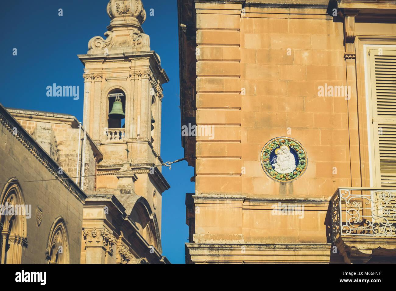 Typical Maltese architecture in Mdina city - Malta - Stock Image