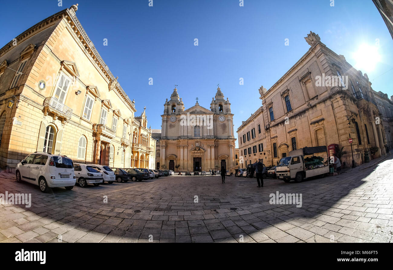 Mdina also known as Medina - Malta. Old town center panoramic view at sunset - Stock Image
