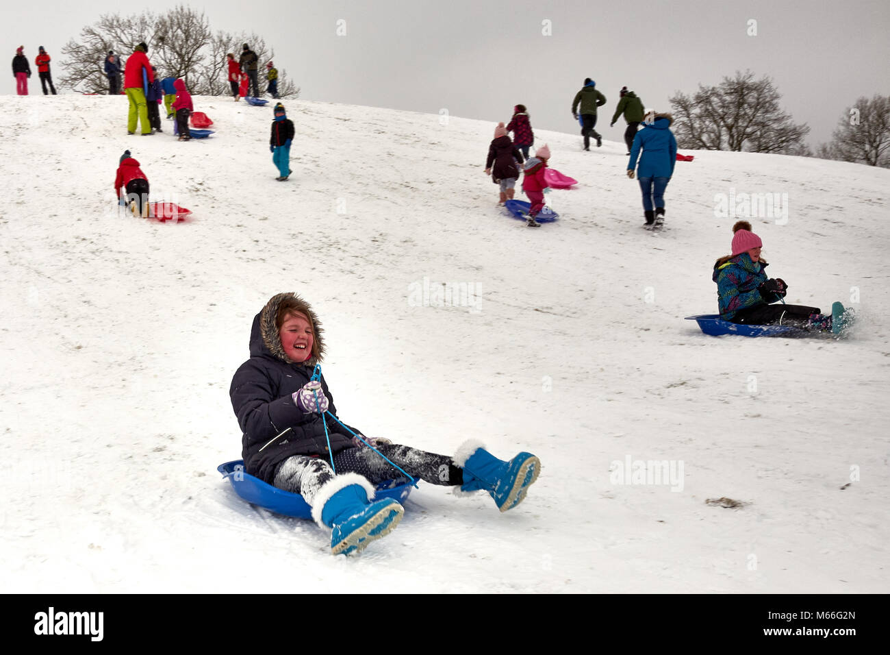 Skipton, North Yorkshire / UK - February 28th 2018: A girl slides down a snow covered hill on a sledge after snow - Stock Image