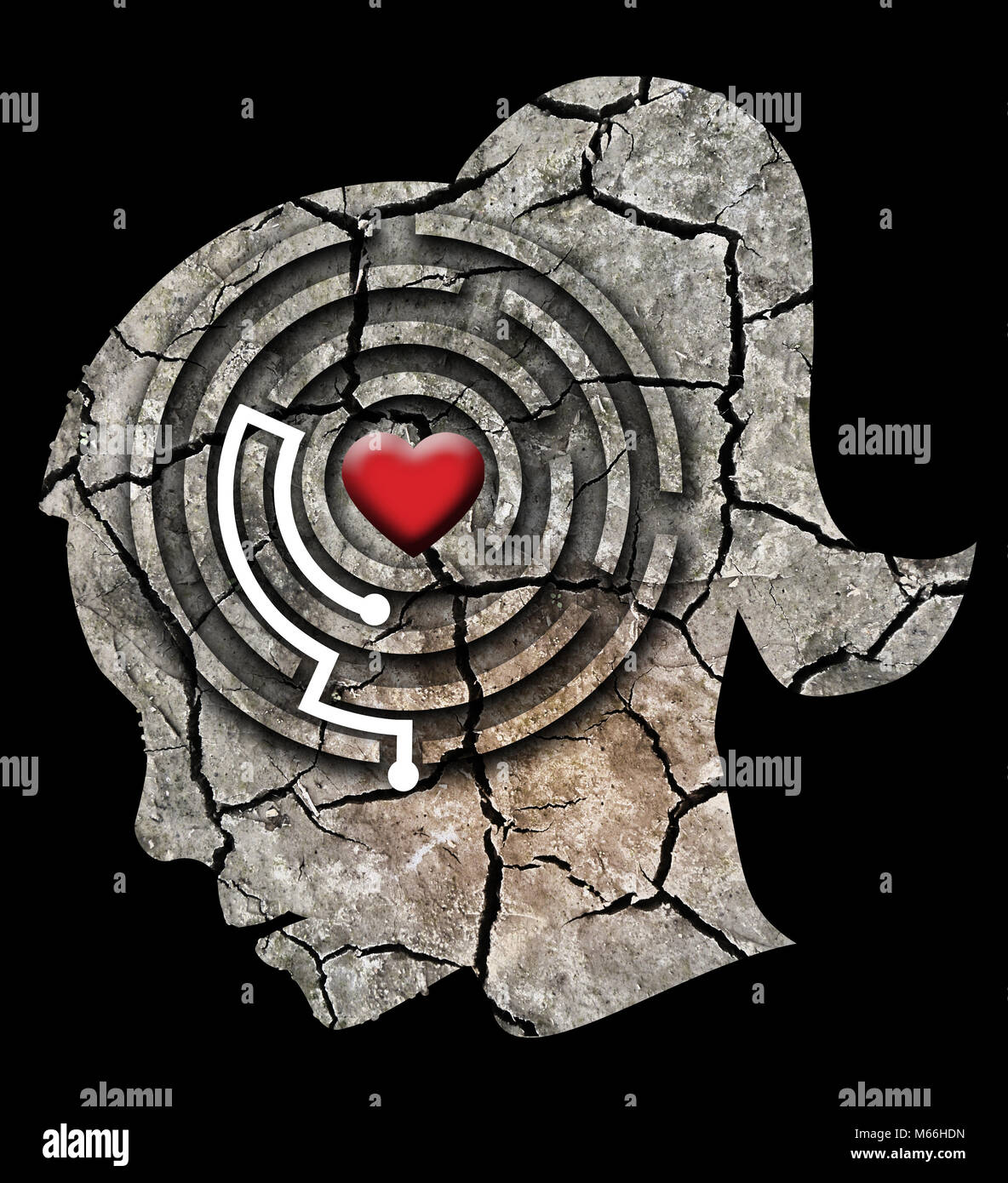 Love yourself concept. Stylized female head silhouette with a heart in a maze. Photo-montage with Dry cracked earth. - Stock Image