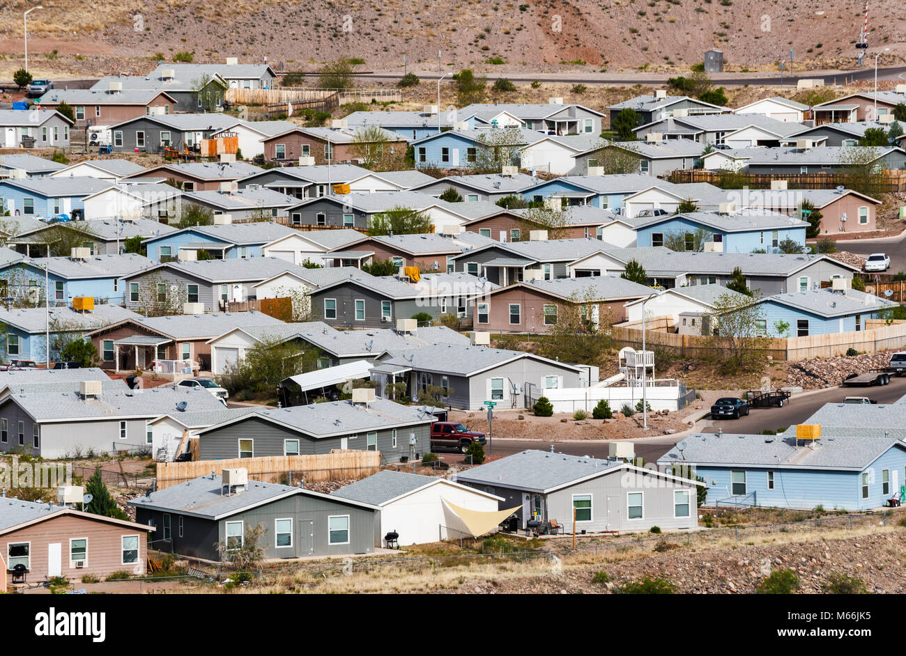 Single family houses in residential area in company town of Morenci, Arizona, USA - Stock Image