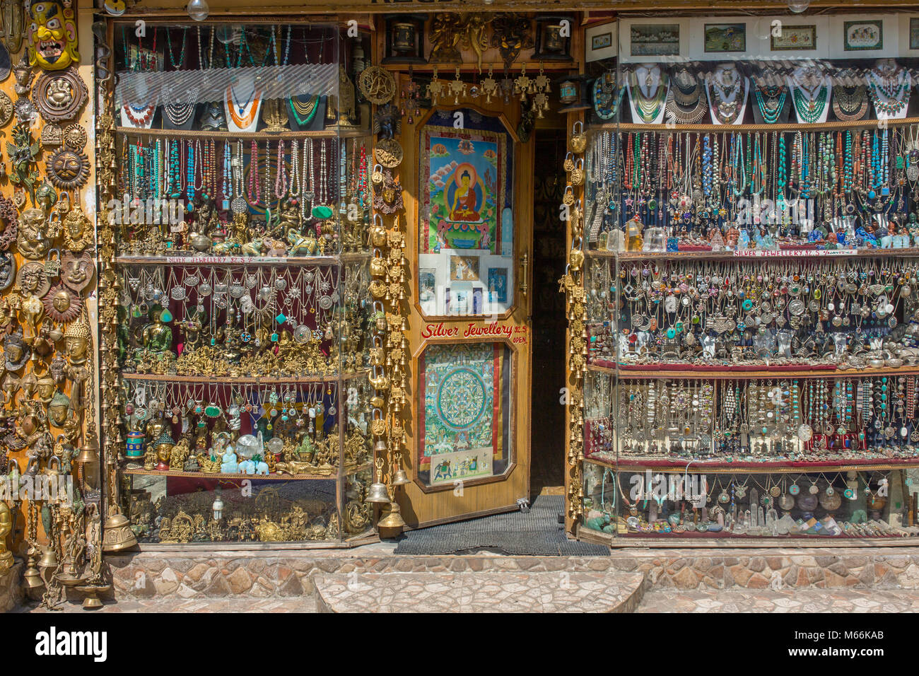 Manali, India - May 26, 2017: Traditional souvenirs and silver jewelleries indian shop - Stock Image