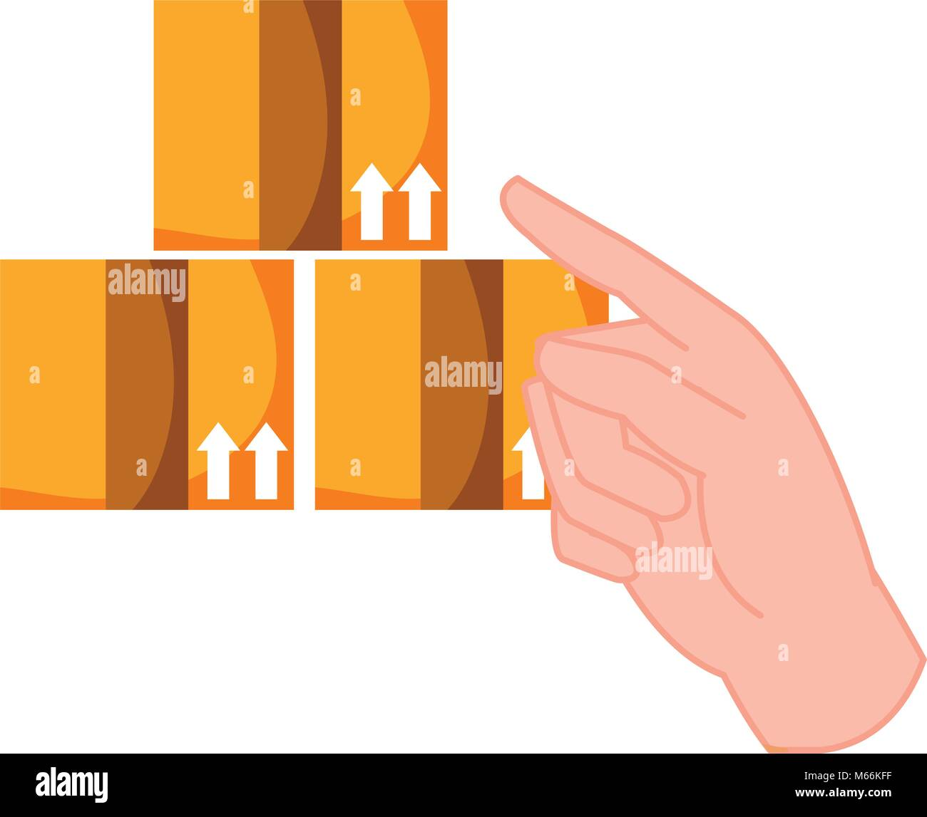 hand pointing out the delivery packages service - Stock Vector