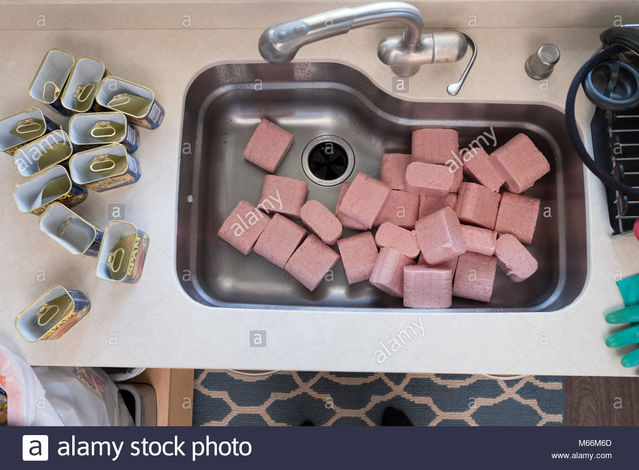 Spoiled SPAM dumped into sink, USA - Stock Image