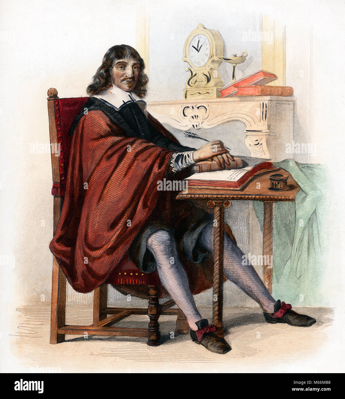 1500s 1600s PORTRAIT OF RENE DESCARTES FRENCH PHILOSPHER BY C. JAQUAND - kh13259 CPC001 HARS KNOWLEDGE INNOVATION Stock Photo