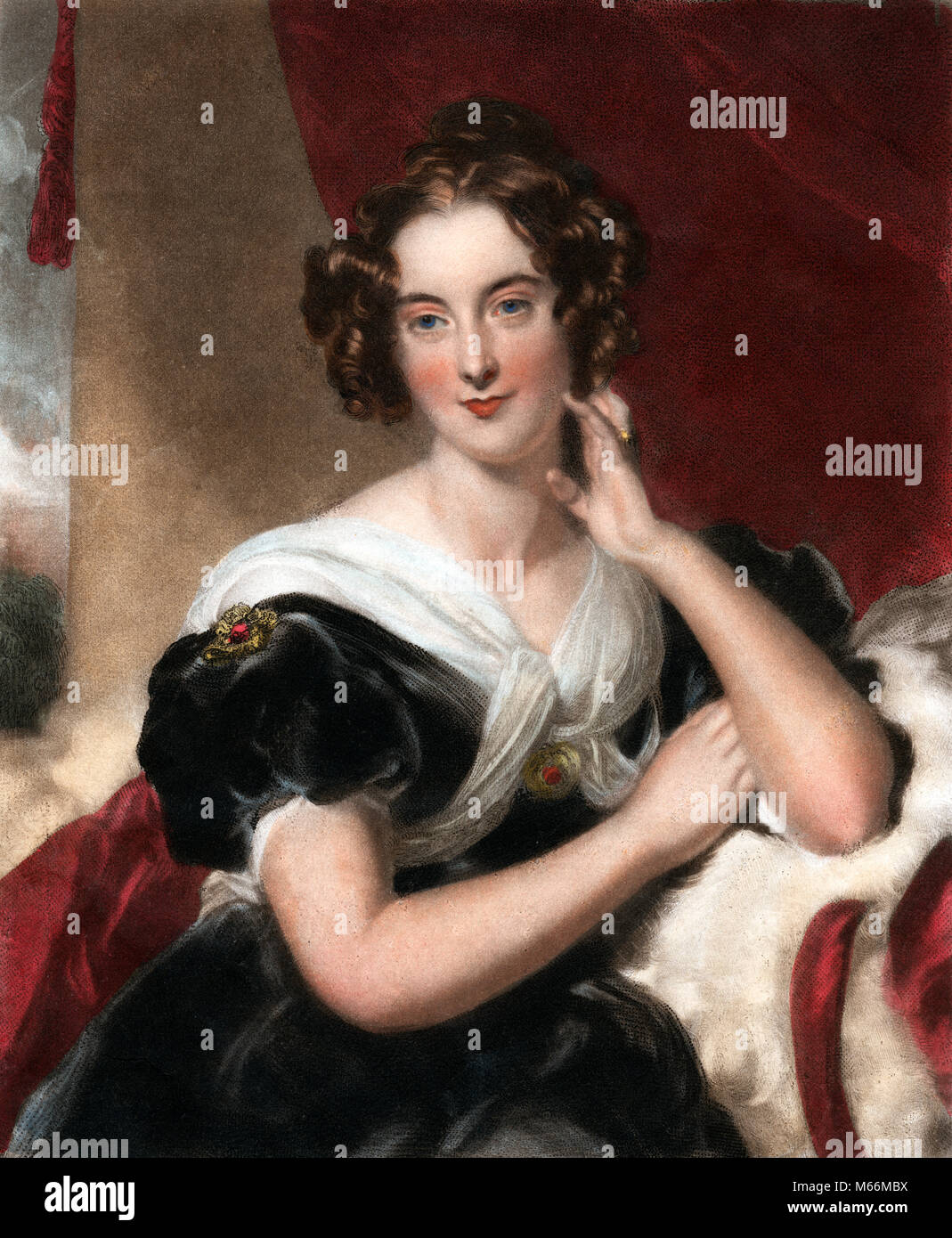 1800s 1827 PORTRAIT OF BEAUTIFUL MISS MACDONALD LOOKING AT CAMERA BY SIR THOMAS LAWRENCE - kh13264 CPC001 HARS RED - Stock Image