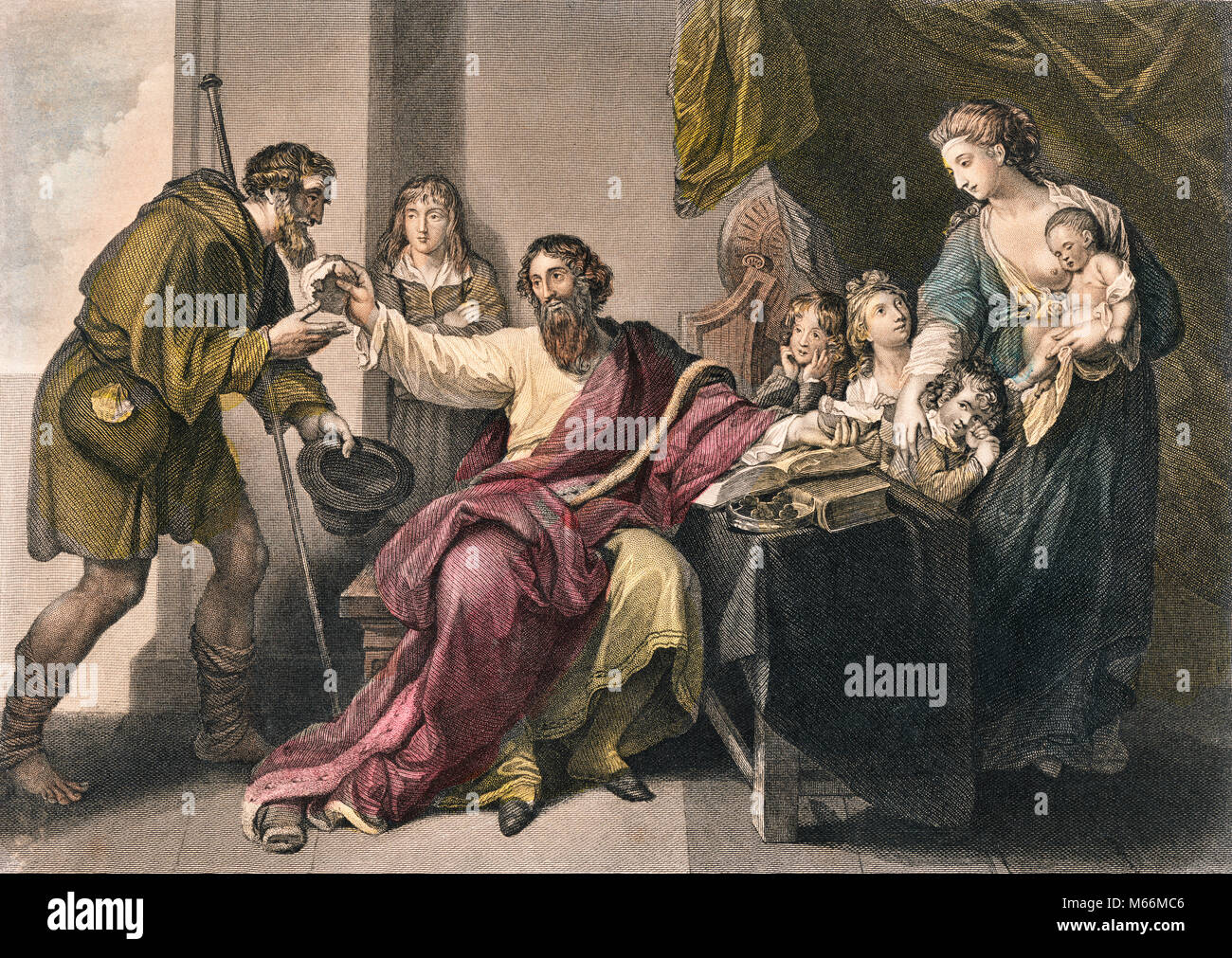 800s 878 ENGLISH KING ALFRED THE GREAT & FAMILY SHARE HALF LOAF BREAD WINE WITH PILGRIM SAINT CUTHBERT IN DISGUISE - Stock Image